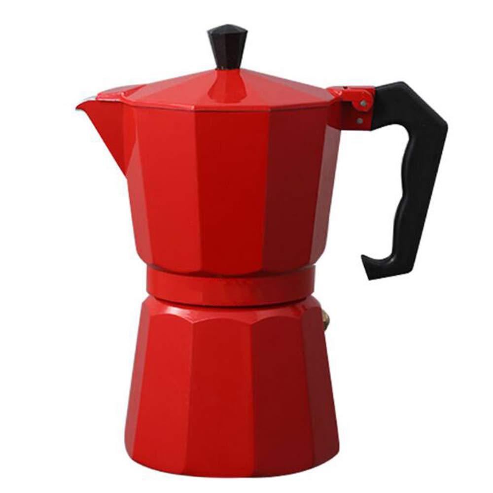 Lee&Jim Italienischer Espressokocher für den Herd, Mokka Kaffeekanne, Mokka Kaffee Topf Inklusive Ersatz Kaffee-Filter Papper, Geeignet für Haus, Küche, Büro, Rot