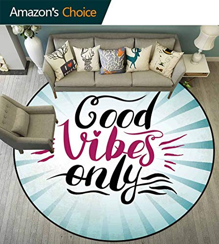 - Good Vibes Round Rug Natural,Retro Radial Composition Abstract Sunburst Hand Lettering Typography Anti-Static,Teal Black Magenta,D-47