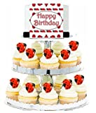 CakeSupplyShop Item#23990 Lady Bug Cascading Cupcake Edible Sugar with Photo Image and Ribbon