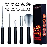 Belosi Pumpkin Carving Kit, 5 Pcs Halloween Heavy Duty Stainless Steel Tool Set with 10 Carving Stencils