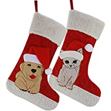 Wewill Christmas Holiday Pet Theme Embroidered Stockings Cute Gift Socks, 20 Inch (Dog)