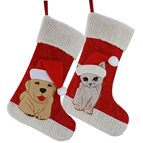 Wewill Christmas Holiday Pet Theme Embroidered Stockings Cute Gift Socks, 20 Inch (Cat)