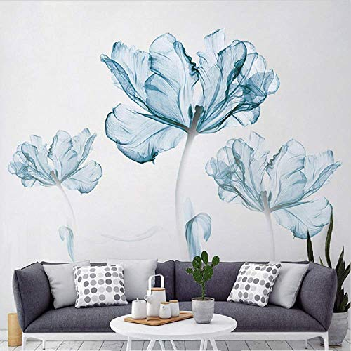 DERUN TRADING Flower Wall Decals,Wall Murals Peel and Stick,Flower Blossom Wall Stickers, Decor Sticker, Blue Wall Decals, Murals, Wall Decor Stickers,Vinyl Removable Mural Paper,Bedroom Decoration