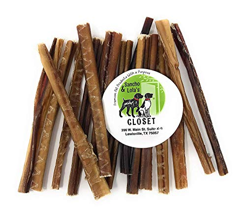 Sancho & Lola's 6-Inch Thin 6oz (10-14 Count) Odor-Free Bully Sticks for Dogs Made in USA/Sourced in USA/Human-Grade/Chef-Prepared/Rawhide-Free Beef Pizzle Dog Chews