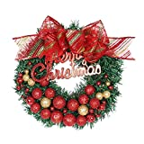 Christmas Wreath Front Door Hanging Wreath with Red ''Merry Christmas'' &Ribbon,Golden &Red Bell Xmas Garland Decor for Home Office Wall Window Wedding
