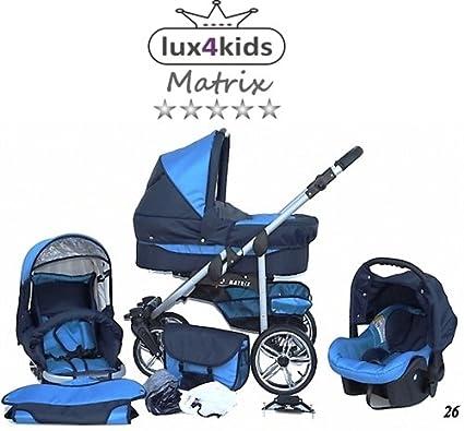 Chilly Kids Matrix II 3 in 1 Cochecito Combinado (asiento del coche incluye adaptadores, cubierta para la lluvia, mosquitero, ruedas giratorias de 62 ...