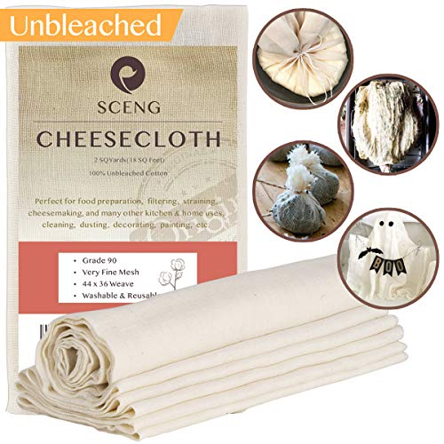 Cheesecloth, Grade 90, 18 sq Feet, 100% Unbleached Cotton Fabric, Ultra Fine Cheesecloth for Cooking-Reusable Nut Milk Strainer, Filter]()