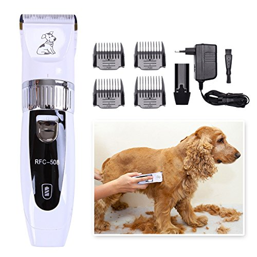 Deercon Professional Cat Dog Clippers Rechargeable Cordless Pet Grooming Clipper Kit Hair Trimmer with Low Noise Safety Titanium Ceramic Blade for Thick Coats Cats Dogs (White) (White Blade Ceramic)