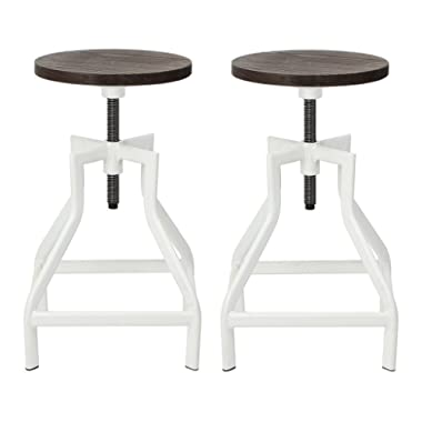 Swivel Bar Stool, Industrial Pub Height Barstool With Elm Seat, Set of 2, White