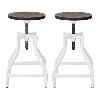 Surprising Swivel Bar Stool Industrial Pub Height Barstool With Elm Seat Set Of 2 White Ibusinesslaw Wood Chair Design Ideas Ibusinesslaworg