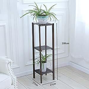 LAO Flor de bastidores, de bambú Múltiples Capas de Balcón Sala de Estar Rural Estante de Flor Estante de Flor (Color : #2, Tamaño : 27*27*100cm)