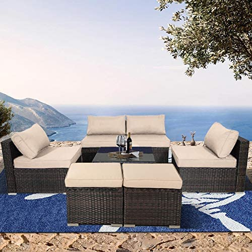 Outdoor Rattan Sofa Set Brown PE Wicker 7pcs Sectional Conversation Sofa Valentine Gift