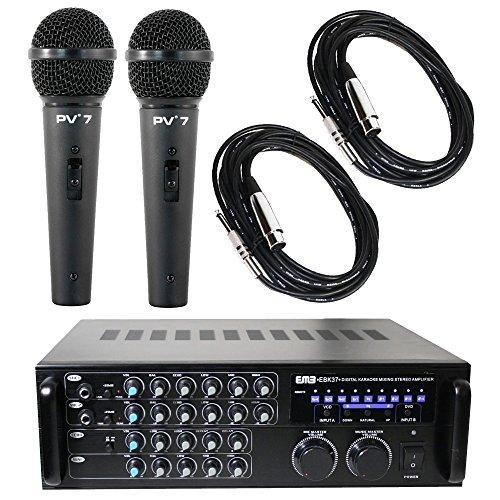 Package Bundle - EMB EBK37 Pro 700-watt Digital Karaoke Mixer Stereo Amplifier + 2 Peavey PV7 Dynamic Cardiod Microphones With Cables