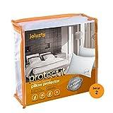 joluzzy Queen Size Waterproof & BedBug Proof Pillow Protector, Zippered Cotton Terry Pillow Cover,Hypoallergenic, Vinyl-Free 10-Year-Warranty,