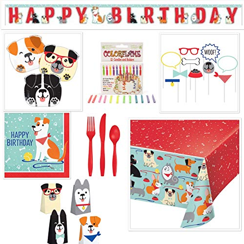 Dog-Theme Birthday Party Bundle: Serves 16 Plates + Napkins + Silverware + Table Cover + Photo Props + Birthday Banner + Photo Props + Loot Bags + Candles ()