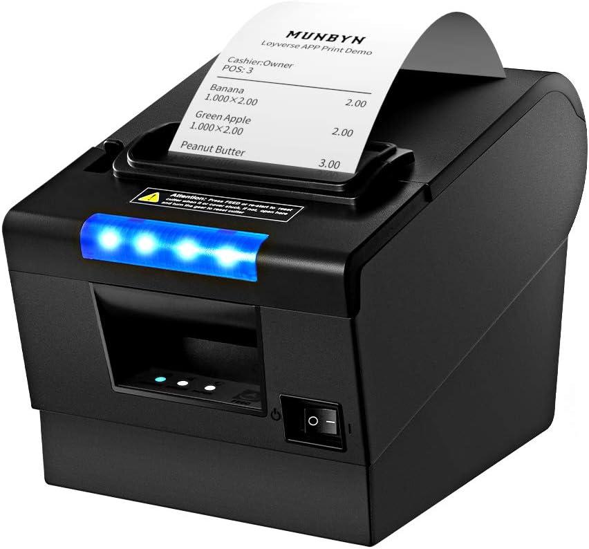 3'1/8 80mm Thermal Receipt Printer, MUNBYN POS Printer with Auto Cutter, USB Serial Ethernet Windows Driver ESC/POS RJ11 RJ12 Cash Drawer