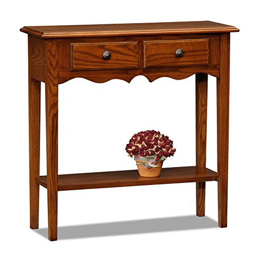 Country Foyer Table - Leick Petite Two Drawer Console Table -Medium Oak