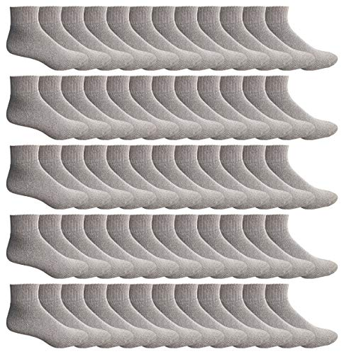 WSD Mens Ankle Socks, Wholesale Bulk Pack Athletic Sports Sock (180 Pairs Gray) by Wholesale Sock Deals (Image #1)
