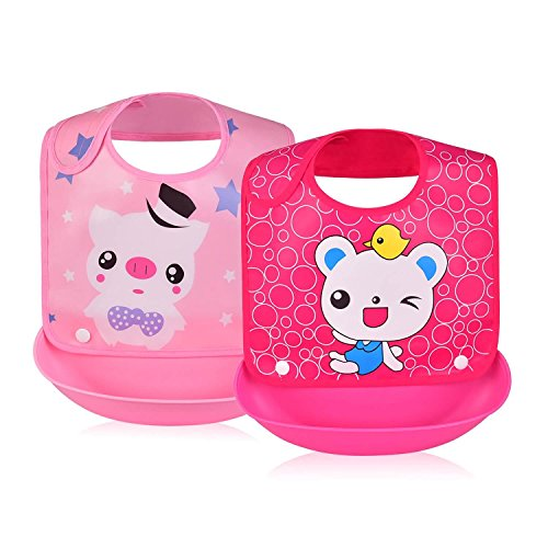Price comparison product image Removable Waterproof Bib Easily Wipes Clean Comfortable Soft Baby Bibs (Pig & Cute Bear)