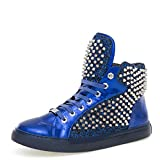 J75 by Jump Men's Zulu Round Toe Glitter Spike Lace-up High-Top Sneaker Blue 12 D US Men
