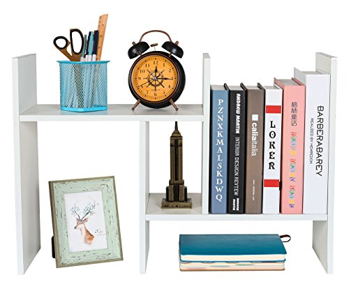 - PAG Wood Desktop Bookshelf Assembled Countertop Bookcase Adjustable Literature Display Rack, White