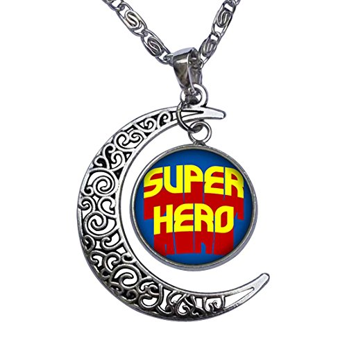 [GiftJewelryShop Famous People Superhero Crescent Moon Galactic Universe Glass Cabochon Pendant] (Famous People With Glasses)