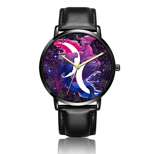 - Customized Star Dragon Wrist Watch, Black Leather Watch Band Black Dial Plate Fashionable Wrist Watch for Women or Men