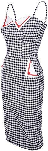 Damen Gingham Pencil Schwarz Dress Gingham Magali Weiß Kleid Küstenluder pWZPB77
