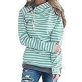 Dainzuy Ladies Sexy Casual Sweater,Long Sleeve Striped Panel Hoodie Tops