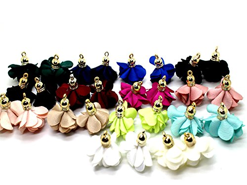 Fashion 28pcs 1.1'' Inch Chiffon Flower Fabric Petal Tassel With Gold Caps for Necklace, Earnings, Key Chain GD28ST170T