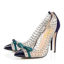 Navy Studded Pointed Toe Transparen Heels with Bowknot