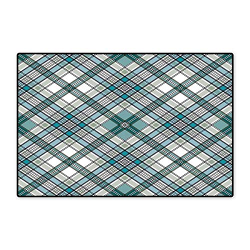 - Checkered Door Mat Small Rug Vintage Fashion English Country Style with Modern Look in Light Colors Bath Mat for Bathroom Mat 16