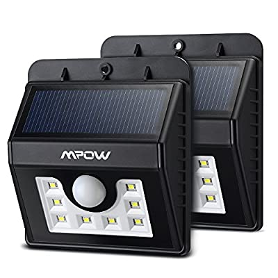Mpow Solar Lights 2-Pack LED Motion Sensor Wall Light, Bright Weatherproof Security Outdoor Lighting