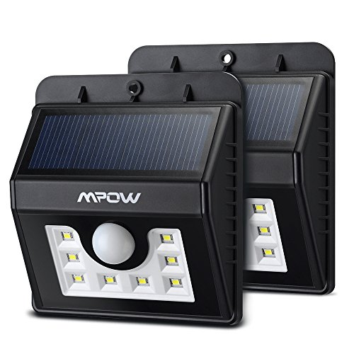 Mpow Super Bright 8 LED Solar Powered Wireless Security Light, Weatherproof Outdoor Motion Sensor Lighting with 3 Intelligent Modes[2-pack]