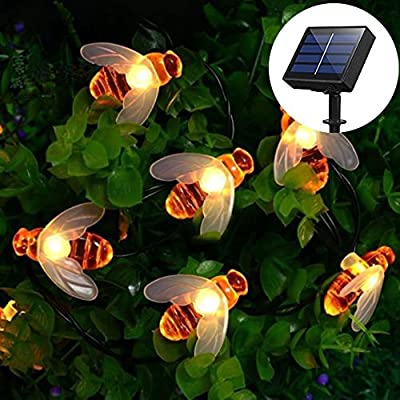 Semintech Solar String Lights with 20LED Outdoor Waterproof Simulation Honey Bees Decor for Garden Xmas Decorations Warm White