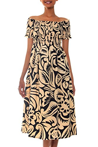 NOVICA Black and Beige 100% Cotton Embroidered Dress, Thai (Thai Embroidered Dress)