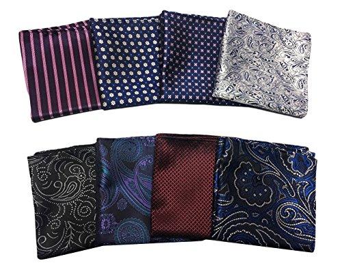 MENDENG Men's 8 Pack Mixed Paisley Floral Pocket Square Wedding Handkerchief by MENDENG