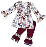 Little Girls 2 Pieces Dress Set Reindeer Ruffle Dress Legging Pant Clothing Set Off White 3T S (201148)