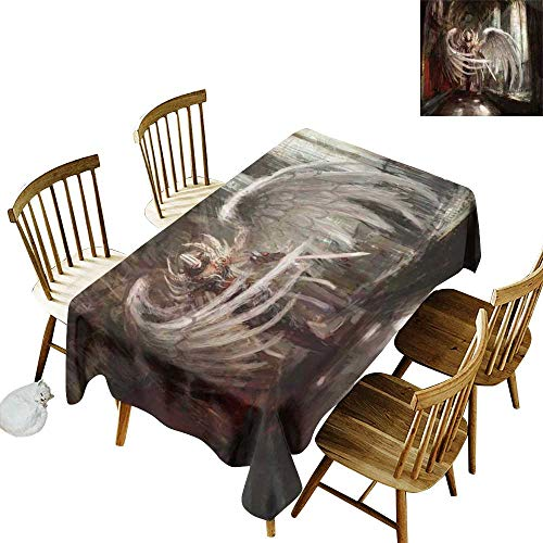 W Machine Sky Wrinkle Resistant Tablecloth Fantasy Decor Cyborg Angel Girl Warrior with Sword in Gothic Ancient Historical Architecture W60 xL102 for Family Dinners,Parties,Everyday Use
