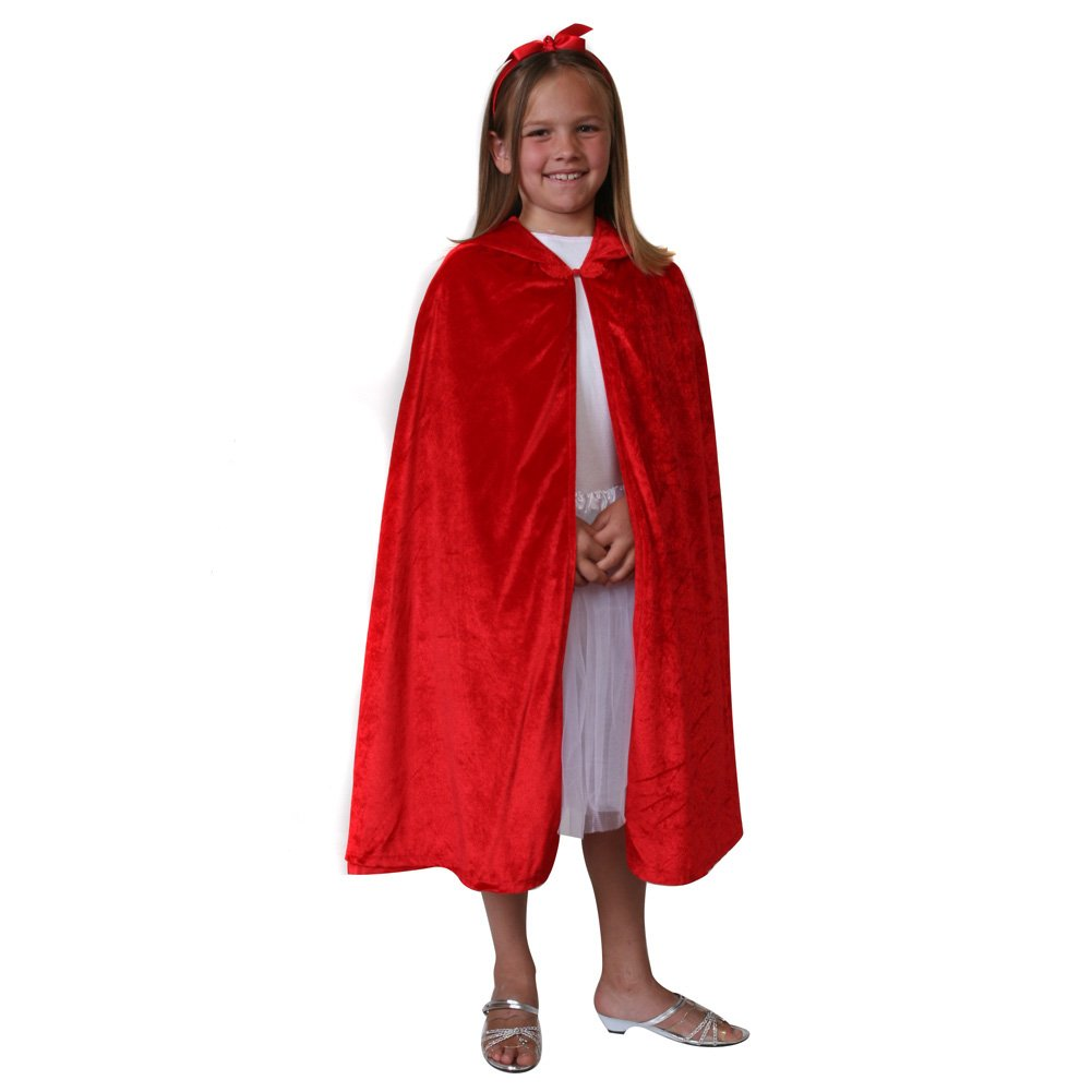 """Storybook Wishes Velvet Cloak (Choose Color and Size) (S/M (28"""" from Neck to Hemline), Red)"""
