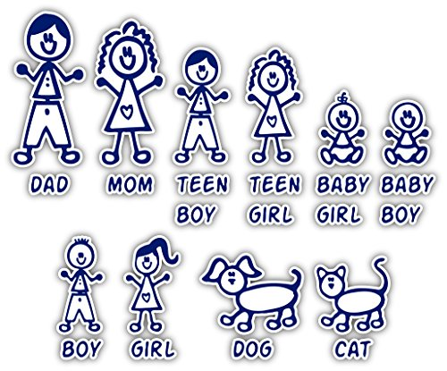 (Stick Figure Family Car Sticker Decal Mom Dad Kids Dog Cat Pack 5x6 inches Total)