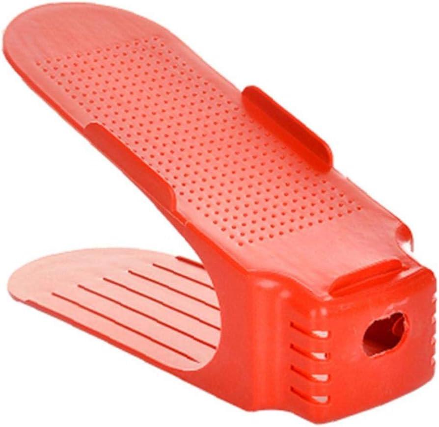 Yililay Zapatos de Rack, Zapatos de Ahorro de Espacio árbol de pie Zapatos Organizador de Zapatos de Almacenamiento de Soporte Ajustable Magic 2 Nivel Rojo