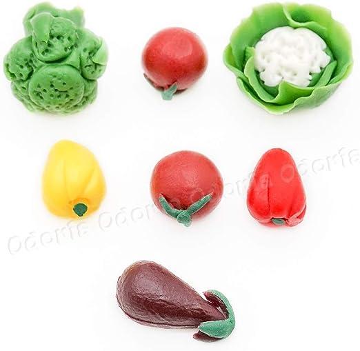 1//12 Miniatur Lebensmittel 7 Stück Gemüse Puppenhaus Küche Zubehör
