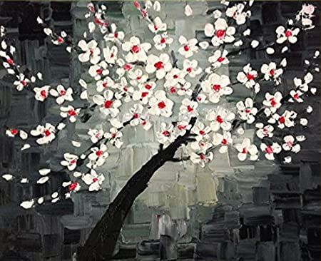 TTKX@ Knife Chinese Plum Flowers Wall Art Pictures Handmade Abstract ...