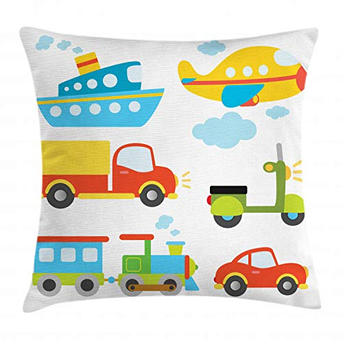 Ambesonne Nursery Throw Pillow Cushion Cover, Abstract Transportation Types with Car Ship Truck Scooter Train and Aeroplanes, Decorative Square Accent Pillow Case, 16