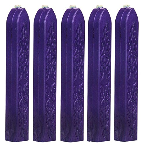 - Gbell Sealing Wax Sticks, 5 Pcs Totem Fire Manuscript Sealing Wax Sticks with Wicks for Postage Letter Manuscript Retro Vintage Wax Seal Stamp (Purple)