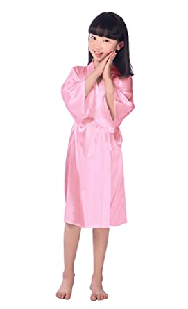 Honoursport Kimono Dressing Gown For Girls Kids Silk Satin Robe ...