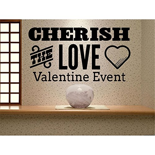 25 Home Decor Vinyl Wall Lettering Stickers Quotes and Saying Cherish The Love Valentine Event -