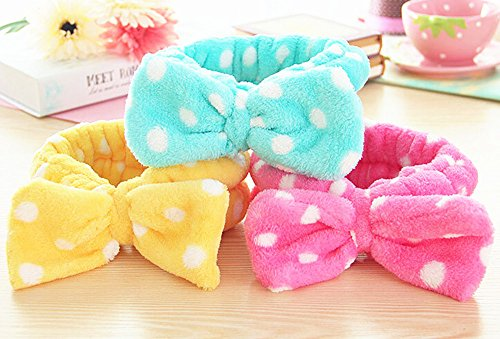 SFamily Lovely Korean Style Girls Flannel Cute Elastic Big Bow-knot Hair Band Cosmetic Headband 3pcs(Green Hot Pink - Popular Hair Facial Styles