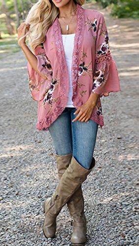 Moda Rose Tops Blazer Stampe Sweatshirt a Kimono Giacca Pizzo Campana Donne Cardigan con Cappotto Maniche Rosa aqwSTPHv